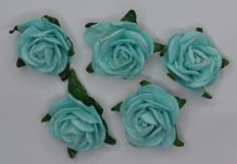 2.5cm PALE TURQUOISE Mulberry Paper Roses (only flower head)